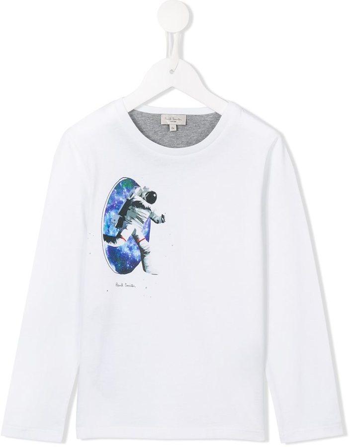 Детская белая футболка с длинным рукавом с принтом для мальчиков от Paul Smith