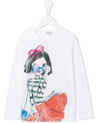 Детская белая футболка с длинным рукавом с принтом для девочке от Simonetta