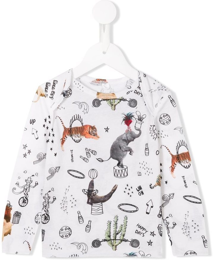 Детская белая футболка с длинным рукавом с принтом для мальчику от Stella McCartney