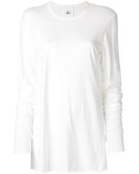 Женская белая футболка с длинным рукавом