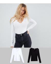Женская белая футболка с длинным рукавом от ASOS DESIGN