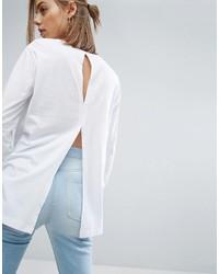 Женская белая футболка с длинным рукавом от Asos