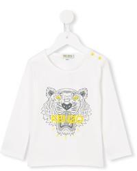 Детская белая футболка с длинным рукавом для девочке от Kenzo