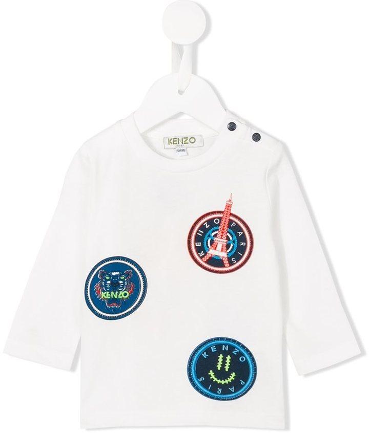 Детская белая футболка с длинным рукавом для мальчику от Kenzo