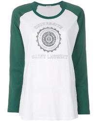 Женская белая футболка с длинным рукавом от Saint Laurent
