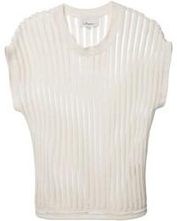 Белая футболка с круглым вырезом в вертикальную полоску