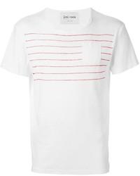 Белая футболка с круглым вырезом в горизонтальную полоску