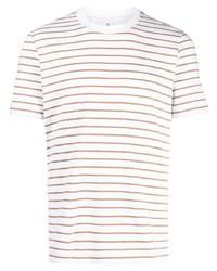 Мужская белая футболка с круглым вырезом в горизонтальную полоску от Brunello Cucinelli