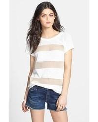 Белая футболка с круглым вырезом в сеточку