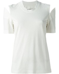 Белая футболка с круглым вырезом с вырезом