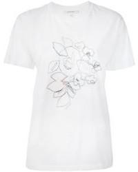 Белая футболка с круглым вырезом с вышивкой