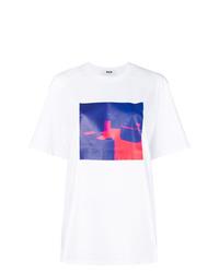 Женская белая футболка с круглым вырезом с принтом тай-дай от MSGM