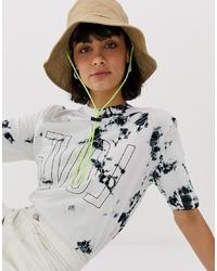 Женская белая футболка с круглым вырезом с принтом тай-дай от Weekday