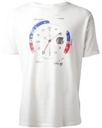 Белая футболка с круглым вырезом с принтом