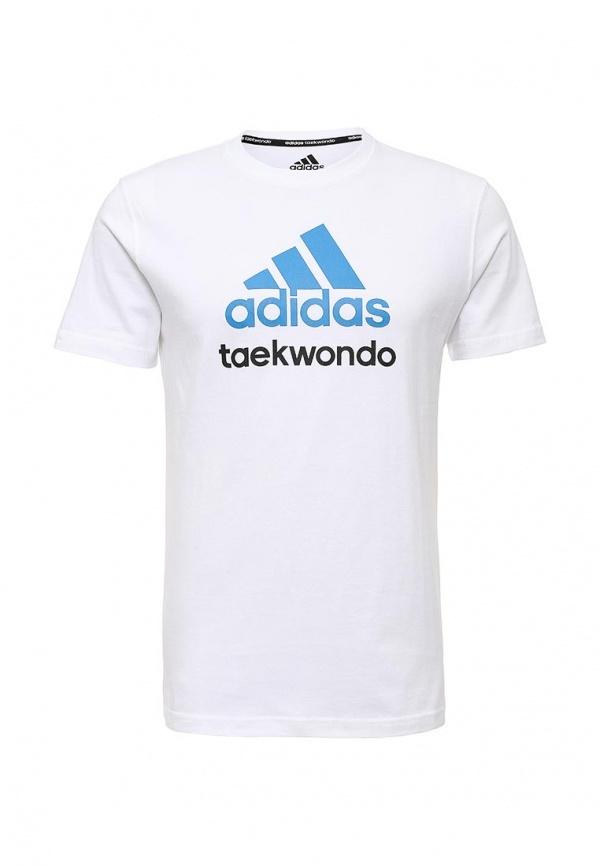 Мужская белая футболка с круглым вырезом с принтом от adidas Combat