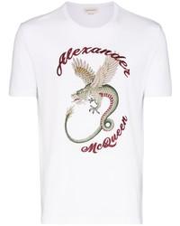 Мужская белая футболка с круглым вырезом с принтом от Alexander McQueen