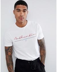 Мужская белая футболка с круглым вырезом с принтом от ASOS DESIGN