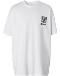 Мужская белая футболка с круглым вырезом с принтом от Burberry