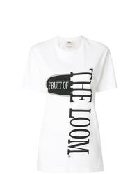 Женская белая футболка с круглым вырезом с принтом от Cédric Charlier
