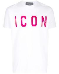 Мужская белая футболка с круглым вырезом с принтом от DSQUARED2
