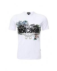 Мужская белая футболка с круглым вырезом с принтом от Just Cavalli