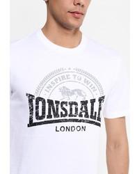 Мужская белая футболка с круглым вырезом с принтом от Lonsdale