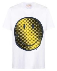 Мужская белая футболка с круглым вырезом с принтом от Marni
