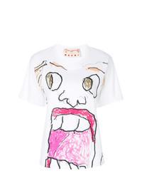 Женская белая футболка с круглым вырезом с принтом от Marni