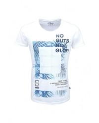 Мужская белая футболка с круглым вырезом с принтом от s.Oliver Denim