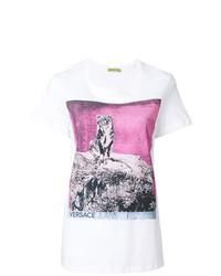 Женская белая футболка с круглым вырезом с принтом от Versace Jeans
