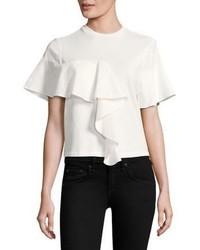 Белая футболка с круглым вырезом с рюшами