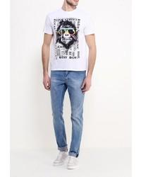 Мужская белая футболка с круглым вырезом от Baon