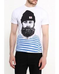 Мужская белая футболка с круглым вырезом от Deblasio