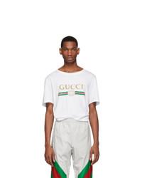 Мужская белая футболка с круглым вырезом от Gucci