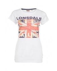 Женская белая футболка с круглым вырезом от Lonsdale