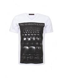 Мужская белая футболка с круглым вырезом от Trussardi Jeans