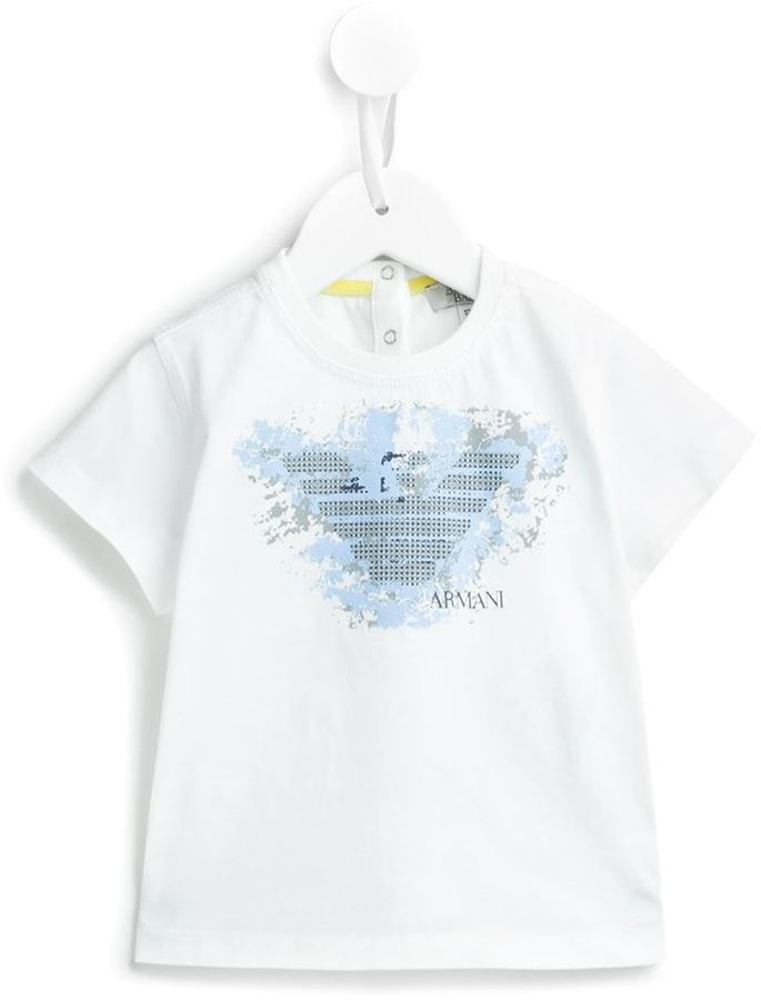 Детская белая футболка с принтом для мальчику от Armani Junior