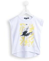 Детская белая футболка с принтом для девочке от DKNY