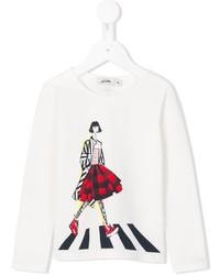 Детская белая футболка с принтом для девочке от Junior Gaultier