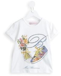 Детская белая футболка с принтом для девочке от Miss Blumarine