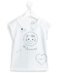 Детская белая футболка с принтом для девочек от Simonetta