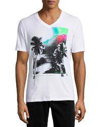 Белая футболка с v-образным вырезом с принтом