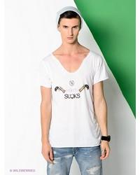 Мужская белая футболка с v-образным вырезом от Boom Bap Wear