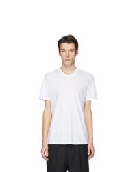 Мужская белая футболка с v-образным вырезом от Jil Sander