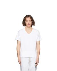 Мужская белая футболка с v-образным вырезом от Maison Margiela