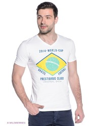 Мужская белая футболка с v-образным вырезом от Oodji