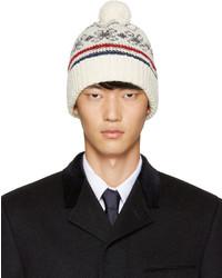 Мужская белая шапка из мохера от Thom Browne