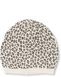Белая шапка с леопардовым принтом