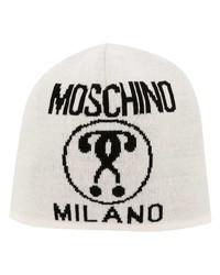 Мужская белая шапка с принтом от Moschino