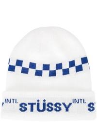 Мужская белая шапка от Stussy